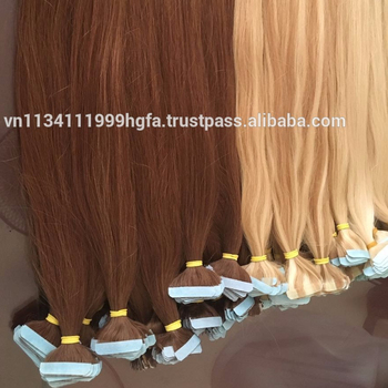 August 2018 EKKOHAIR color tape hair extension human skin weft hair for extension beautiful blonde honey hair #613 #18 #22