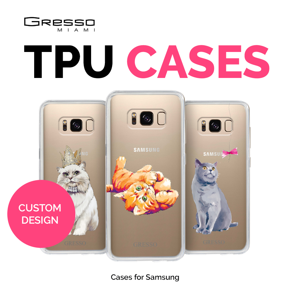 Fashion Transparent TPU Wallet Case for Samsung Galaxy s9 s9+ s8 s8+ s7 with Cats Design Printing Wholesale OEM