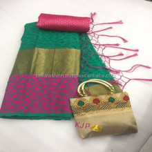 Indian Pakistani Wedding Reception Party Wear, Wedding and Special Function Wear Cotton Brasso Saree in Surat