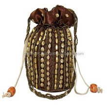Brown satin beaded embroidered drawstring bag fashion lady hand bag for girls party time bag
