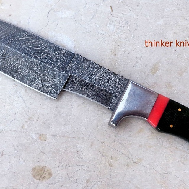 Damascus steel hunting knife, bowie knife with micarta