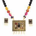 Jaipur Mart Gold Plated Black Color Colored Glass Stone, Color Beads, Pearl Necklaces With Earrings