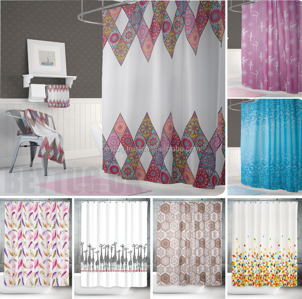 POLYESTER BATHROOM CURTAIN , HOTEL SHOWER CURTAIN
