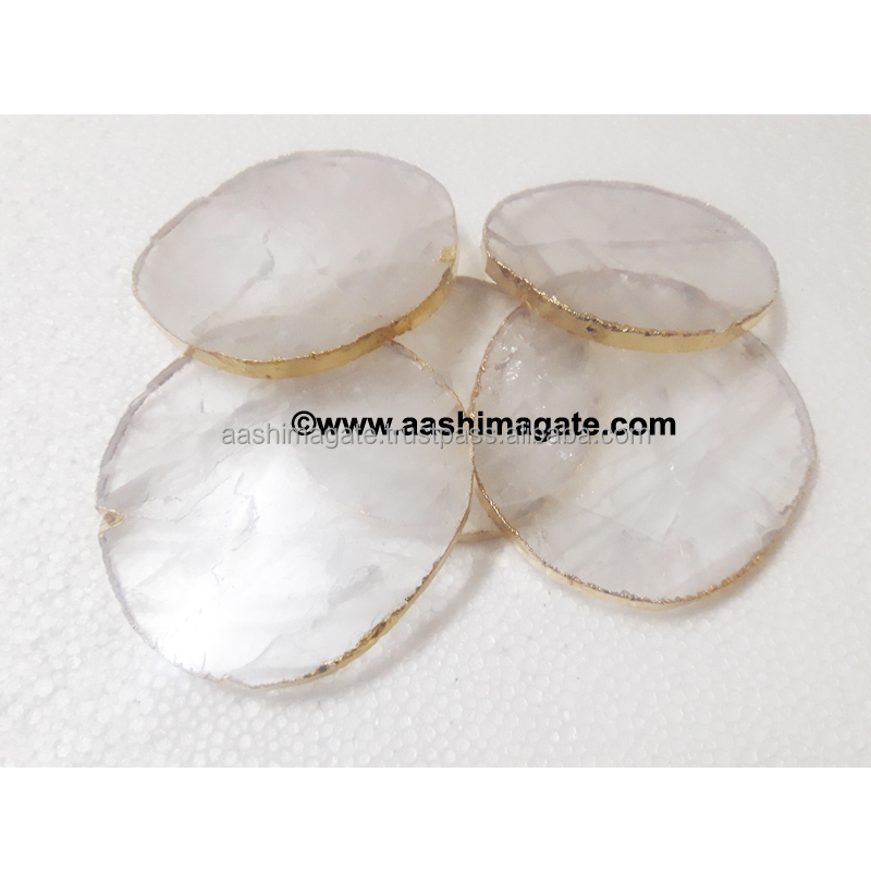 100% Natural Custom Made clear quartz crystal coaster for healing