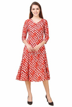 Wholesale designer cotton polka dots umbrella designer ready made anarkali kurti design Jaipur women dress