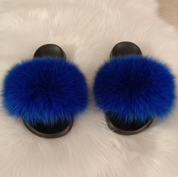luxury fashion real fox big fur slippers women