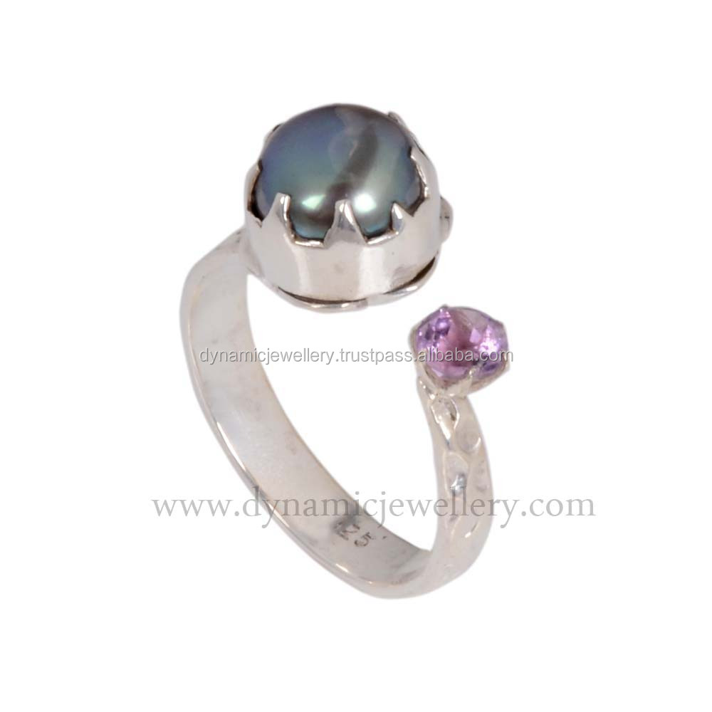 Amazing black pearl 925 sterling silver ring