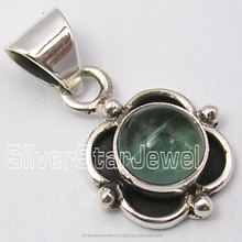 "Fasion Handmade Tibetan Jewelry Designs 925 Pure Silver GREEN APATITE EXTRA ORDINARY Pendant 0.9"" CHEAPEST SHIPPING"