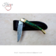 HIFLFK7 Laguiole Dyed Green Color Wood Handle With Brass Pins Damascus Pocket Folding Hunting knife