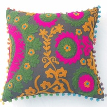 Christmas Decor Pillow Cases Indian Suzani Cushion Covers Hand Woolen Embroidery