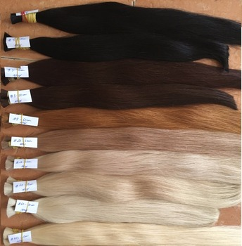 Best quality Long natural virgin human hair and remy colored hair in bulk Cheap single drawn human remy hair in bulk