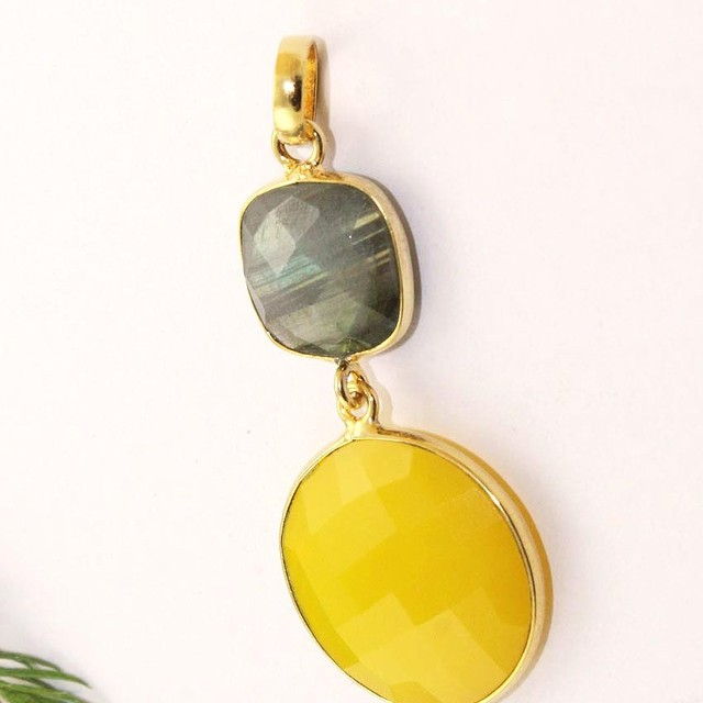 2017 New Labrodorite & Chalcedony 24k Gold Plated Adjusment Gemstone Handmade Pendant