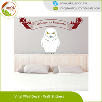 Sitting Owl Harry Potter Welcome to Hogwarts Owl Sticker Colorful Bathroom Vinyl Wall Decals Kids Room