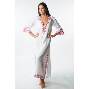 Clothing Factory Plus Size Three Quarter Bell Sleeves High V-Neck Bottom Side Cut Embroidery Long Beach Wear Maxi Dress