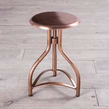 Industrial Metal Glossy Round Height adjustable Bar Stool