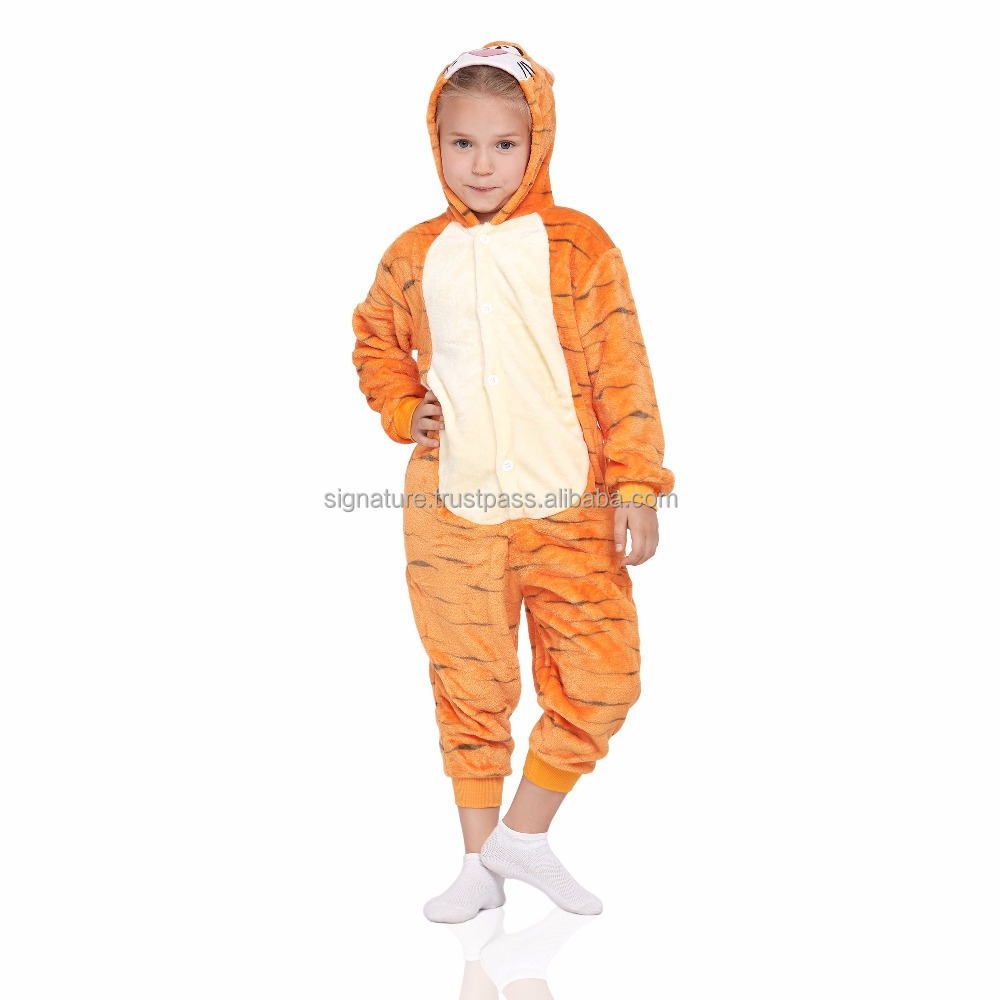 Tiger Kids Kigurumi With Butt Flap Pockets Pajamas Plush Onesie Hooded Animal Cosplay Costume Onsie Jumpsuit Home Clothes