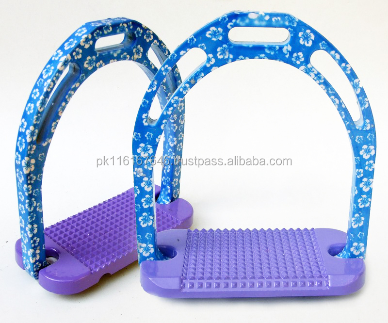 Horse Stirrups-Aluminium Blue Based On Little White Flowers Design Light Weight Jinn Stirrups-HE-222 Paper Coated Equestrian