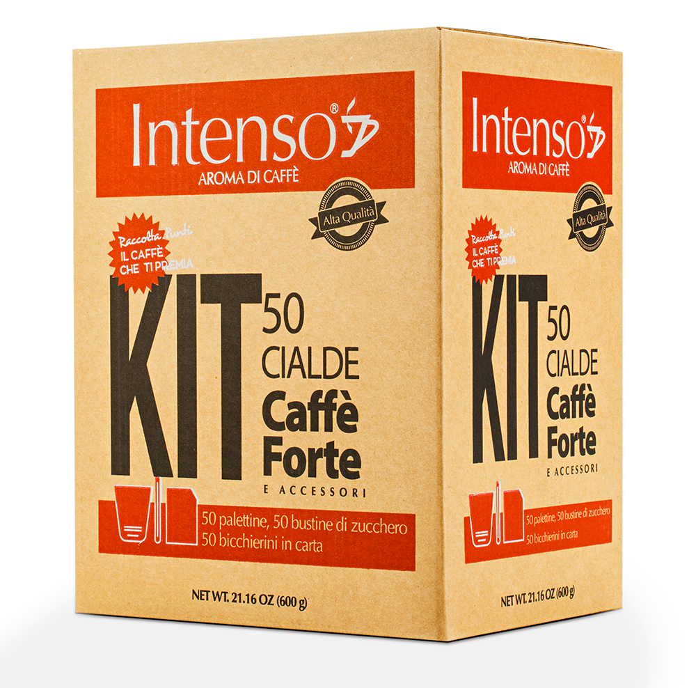 Strong Blend Coffee - Intenso Kit - 50 Coffee pods, 50 Sugar bags , 50 wooden stirrers, 50 paper espresso cups