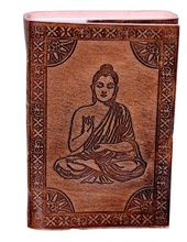 "Leather Diary / Journal / Notebook ""Meditating Buddha"""