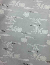 Floral Design Cotton Chambray Embroidery Fabric