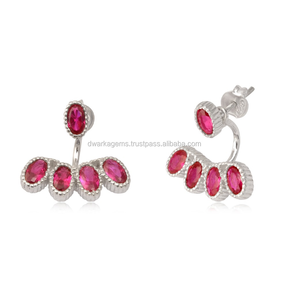 925 sterling silver women cuff earrings with pink quartz silver fashion natural gemstone earrings