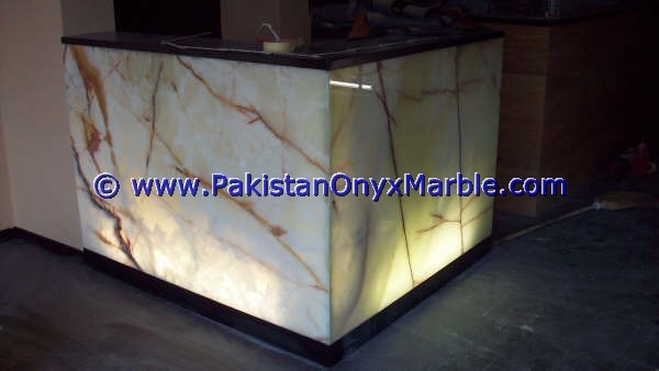 EXPORT QUALITY DECORATIVE ONYX RECEPTION COUNTERS