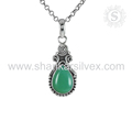Green onyx gemstone handmade pendant 925 sterling silver pendants wholesale jewelry suppliers