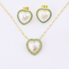 pure white heart shape earring and pendant necklace jewelry set