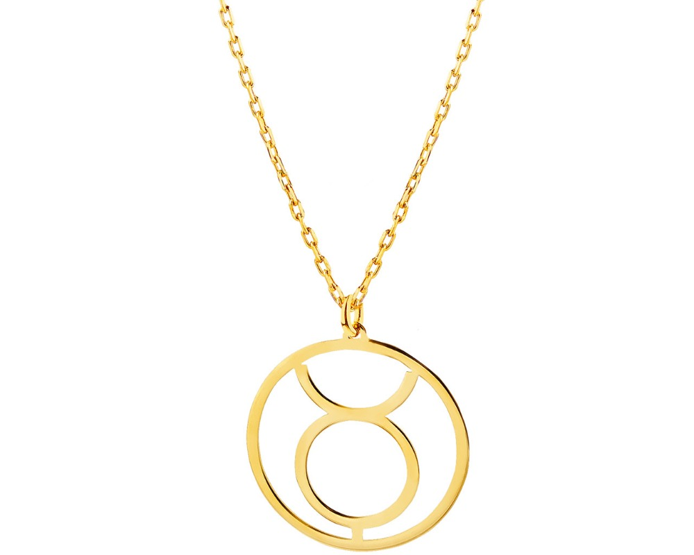 Fashion Design Taurus Horoscope Necklace 10K Gold Jewelry