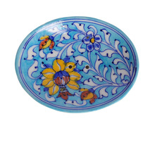 "Ethnic Blue Pottery Floral Printed 5x4"" Soap/ Trinket Dish & Hand Made Soap Bar Handmade And Hand Decorated Crafted Pottery"