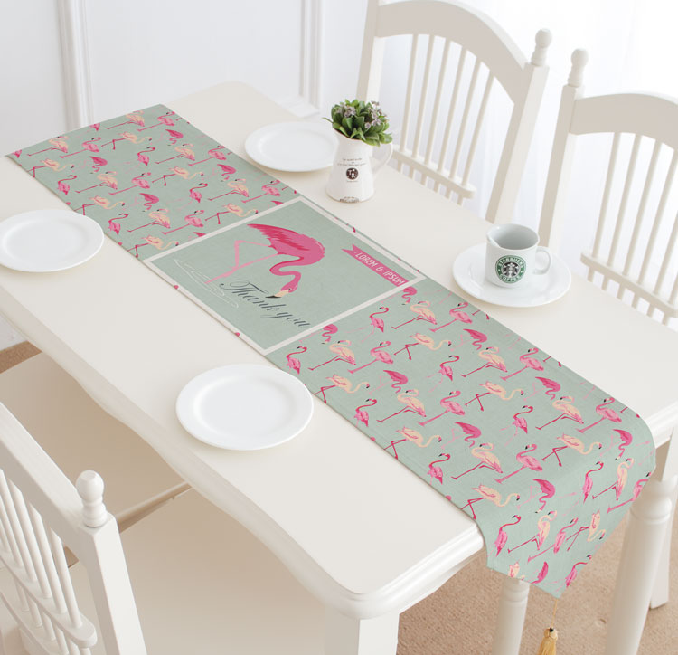 Nordic style flamingo pattern printed table runner rose gold