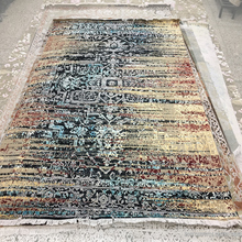 Hand Knotted Indian Contemporary Wool Silk Carpet in Oxidized finish