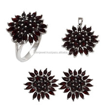 Natural Gemstone Sterling Silver Jewelry, Garnet Jewelry Set