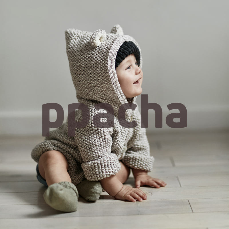 Hooded knit sweater baby alpaca, Bear hooded sweater hand-knitted