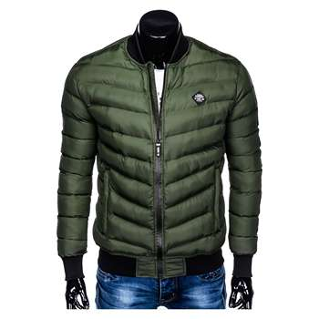 FASHIONABLE CASUAL CHEAP KHAKI QUILTED BOMBER JACKET FOR MEN WITH STRIPES ON SLEEVES OMBRE BRAND STYLE C378