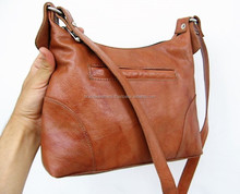 vegetable tanned leather small hobo bag