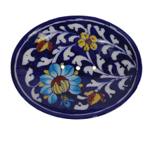 "Floral Printed Handmade Pottery Ethnic Blue Pottery 5x4"" Soap/ Trinket Dish & Hand Made Soap Bar Decorative"