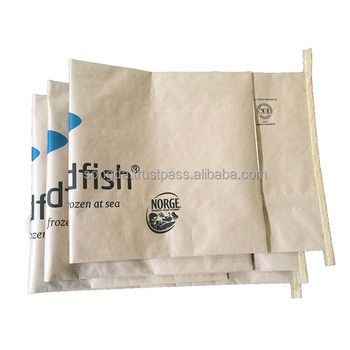 Vietnam side gusset compound pp woven fabric brown Kraft paper bag for frozen fish