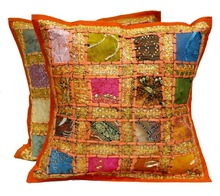 Embroidery Sequin Patchwork Indian Sari Throw Pillow Cushion Covers