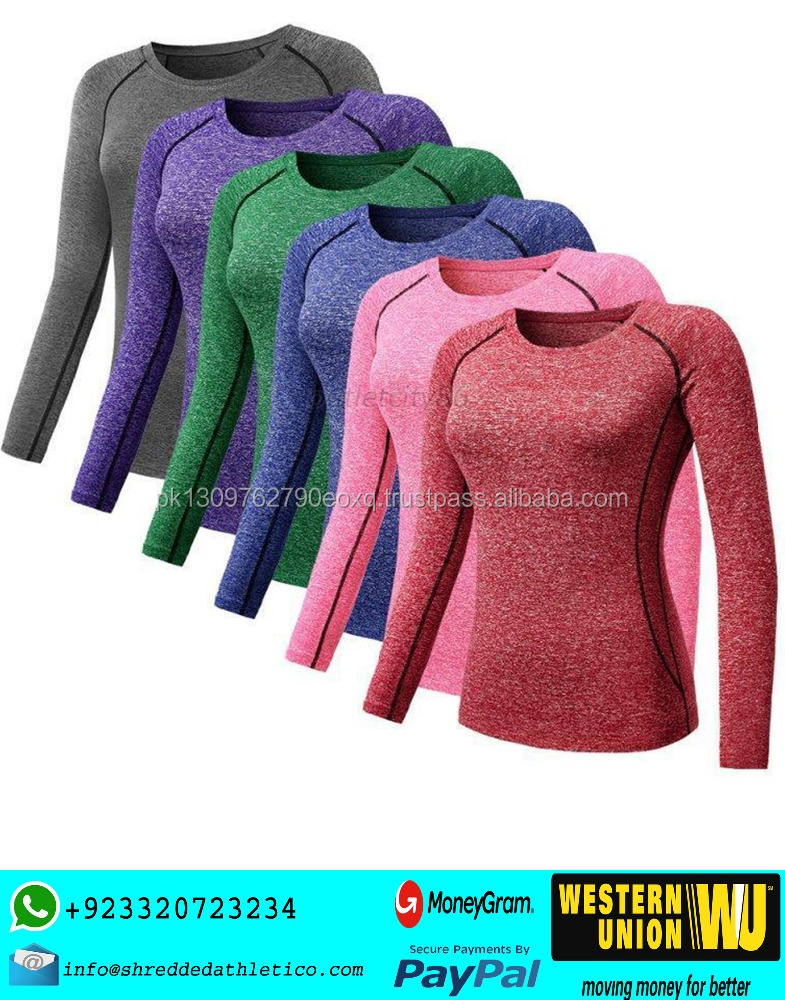 wholesale full sleeve womens Knit Top yoga gym shirts
