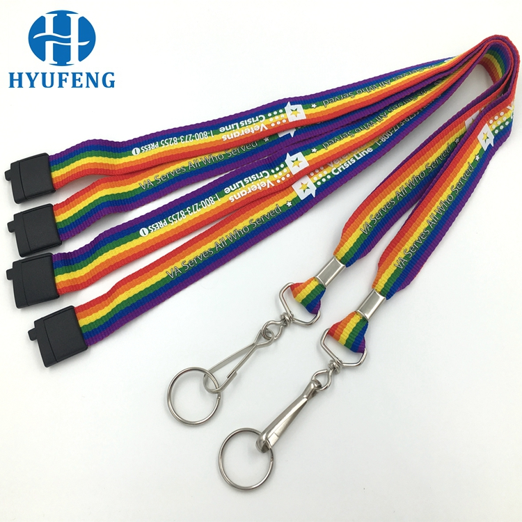 Black Color Custom Logo Silk Screen Printing Polyester Webbing Lanyard
