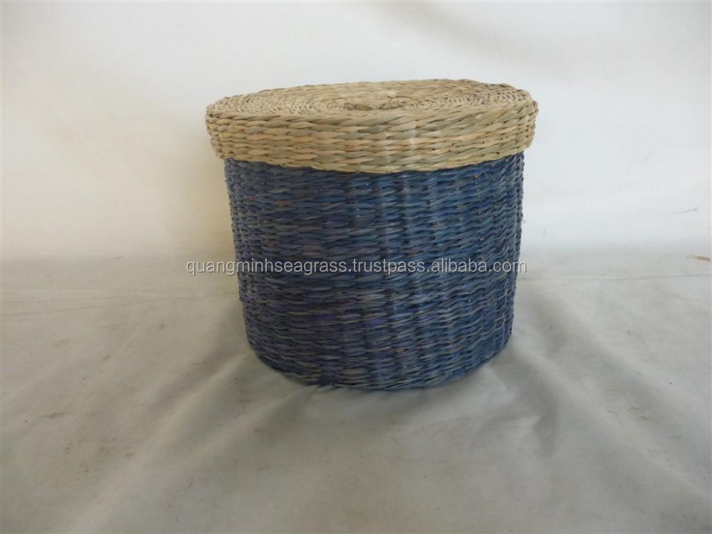 Seagrass bread basket with lid safety material willow picnic basket handmade straw wine bottle basket