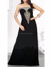Grand Black Color Faux Georgette wedding wear kaftan for women