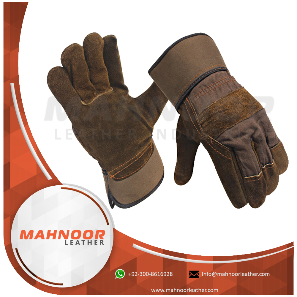 Samples Free cow split working leather gloves