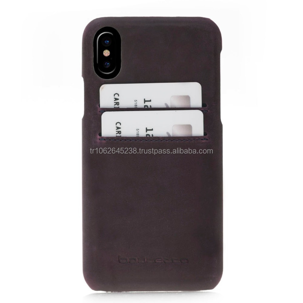 Premium Leather mobile phone back cover case for iphone X including credit card slots