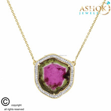 17.99 Ct Natural Watermelon Tourmaline Slice-Rare Diamond Necklace In 10K Yellow Gold