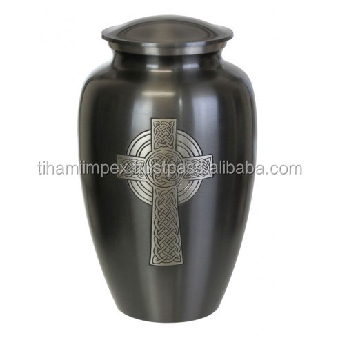 Celtic Cross Metal Cremation Urn for Ashes