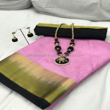 Indian Bollywood Party Looking And Wedding Party Heavy Casual Pure Nylon Raw Silk Women Wear Sarees In Surat