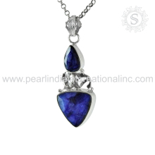 Blue sapphire gemstone jewellery 925 sterling silver pendants wholesaler INDIA