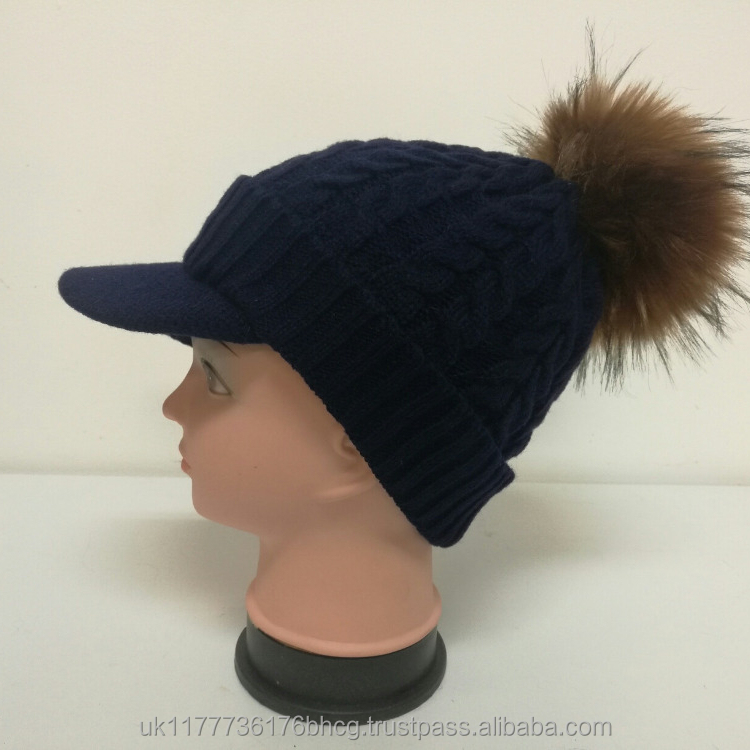 Unisex Warm lined Knitted Peaked Beanie Baseball cap with faux fur pompom